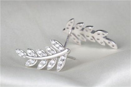 Cercei frunzulita argint 925 cu zirconiu profil
