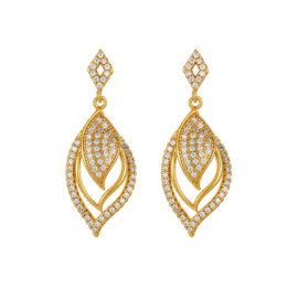 Cercei frunzulita cristale placati aur