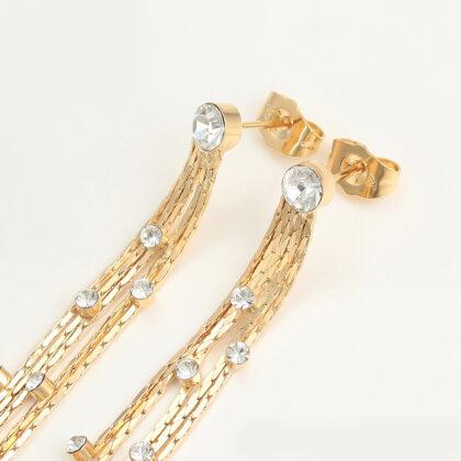 Cercei lungi cristale placati aur 24K sus