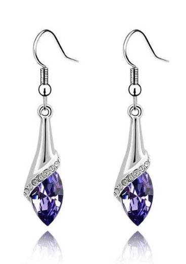 Cercei lungi cu cristal violet