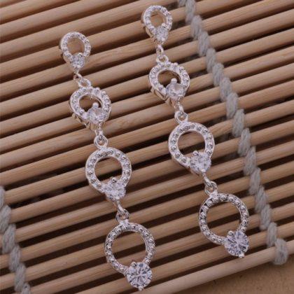 Cercei lungi eleganti argint imitatie diamante