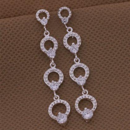 Cercei lungi eleganti argint imitatie diamante profil