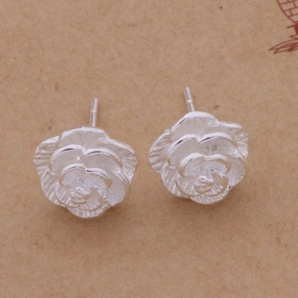 Cercei mici argint trandafir Sara profil