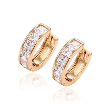 Cercei mici cristale placati aur