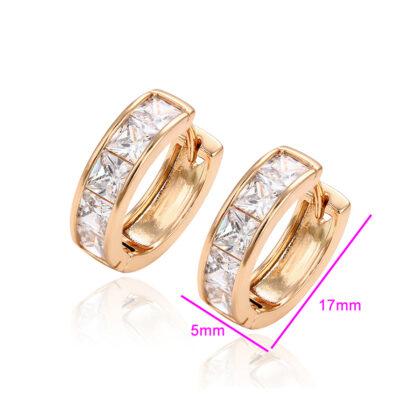 Cercei mici cristale placati aur detalii