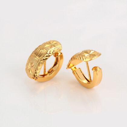 Cercei mici eleganti placati aur 24K fata