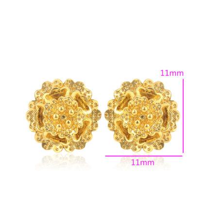 Cercei mici floricica placati aur 18K dimensiuni