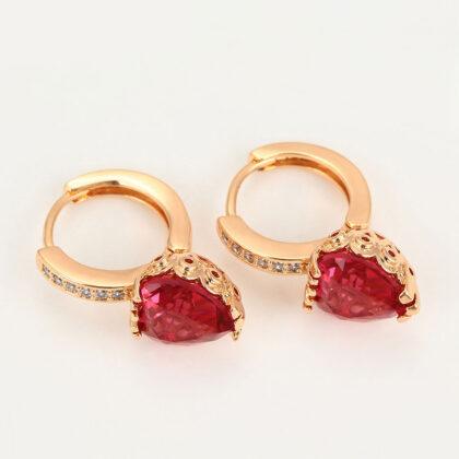 Cercei placati aur cristal rosu sus