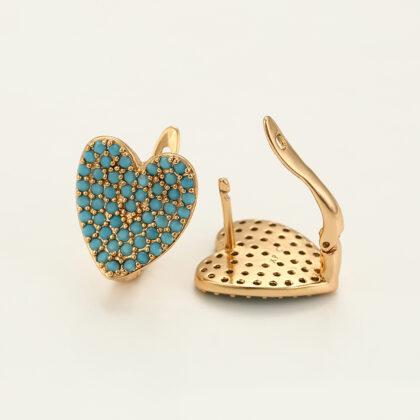 Cercei placati aur inimioare turcoaz profil