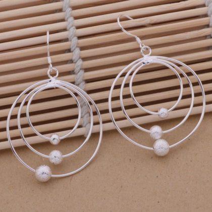 Cercei sferici argint cu bilute Sara profil