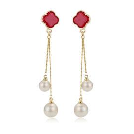 Cercei trifoi rosii si perle placati aur