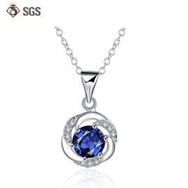 Colier argint 925 cristal albastru