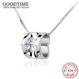 Colier argint 925 cu pandantiv inimioara si cristal zirconiu