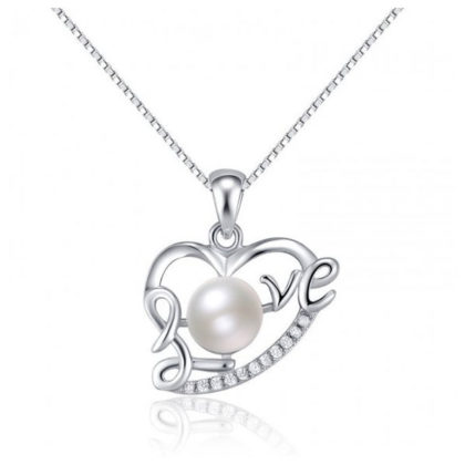 Colier argint 925 inimioara cu perla Love