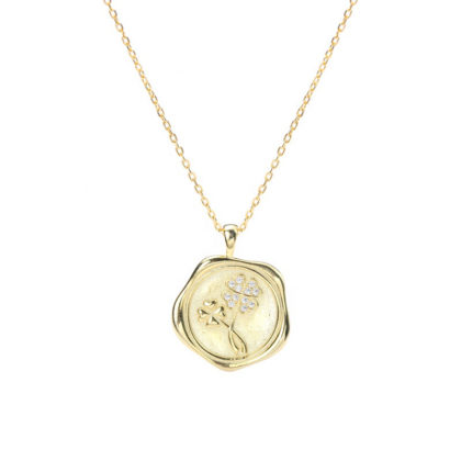 Colier argint 925 placat aur pandantiv trifoi