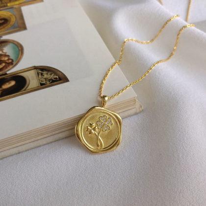 Colier argint 925 placat aur pandantiv trifoi fata