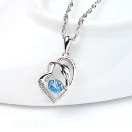 Colier argint 925 zirconiu albastru