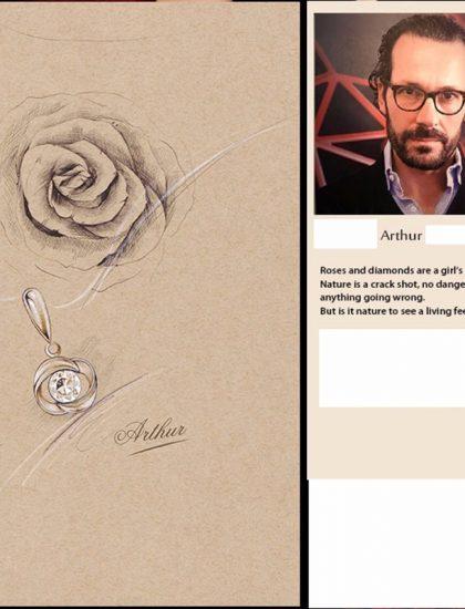 Colier argint cu pandantiv trandafir si zircon schita