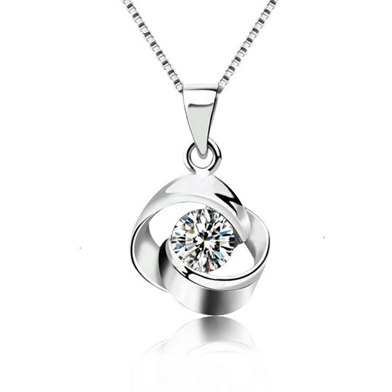 Colier argint cu pandantiv trandafir si zircon