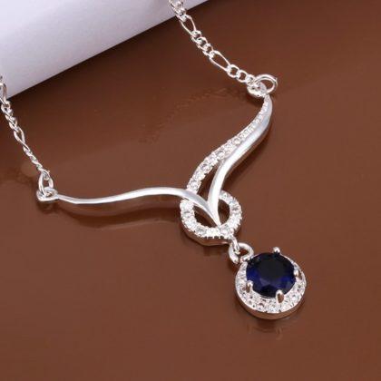 Colier elegant argint cu cristal albastru