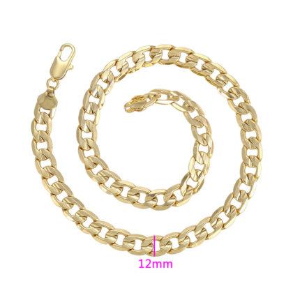 Colier elegant unisex placat aur 18K latime