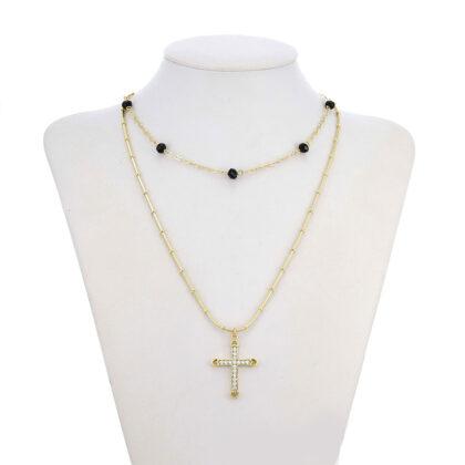 Colier placat aur cruciulita cristale model
