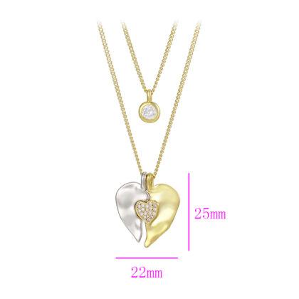 Colier placat aur dama inimioara detalii
