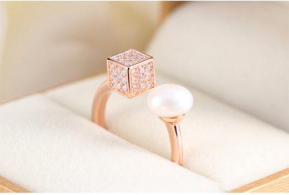 Inel ajustabil argint 925 perla placat aur fata