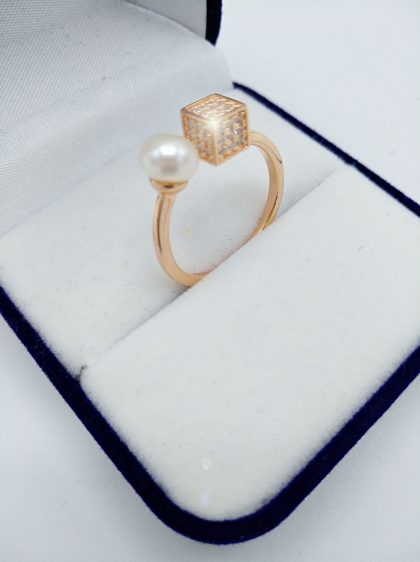 Inel ajustabil argint 925 perla placat aur profil