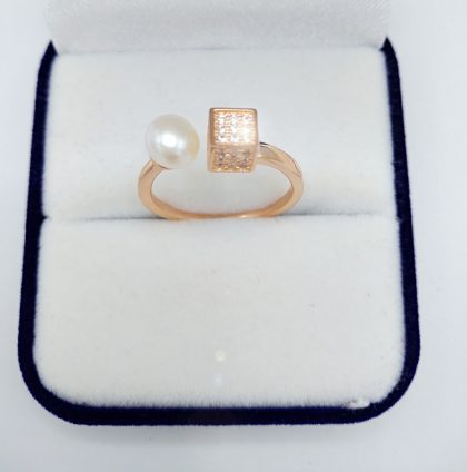 Inel ajustabil argint 925 perla placat aur sus