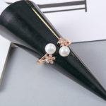 Inel ajustabil argint 925 placat aur perle