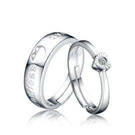 Inele cuplu argint 925 ajustabile inimioare