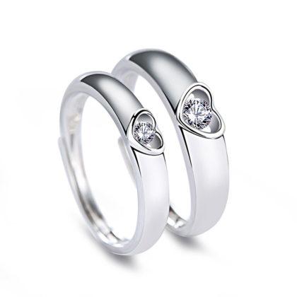 Inele cuplu argint 925 ajustabile inimioare zirconiu