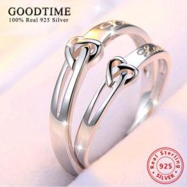Inele cuplu argint 925 ajustabile Love