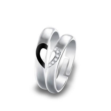 Inele cuplu argint 925 jumatate de inima