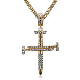 Lant placat aur 18K pandantiv cruce