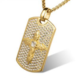 Lant placat aur pandantiv cruce