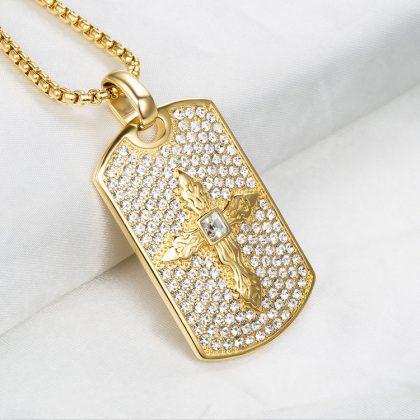 Lant placat aur pandantiv cruce profil