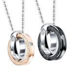Lantisoare cuplu pandantiv sfere stainless steel