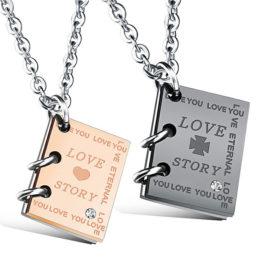Lantisoare cuplu stainless steel pandantiv Love Story