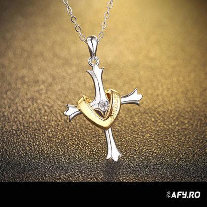 Lantisor argint 925 cruciulita placata aur