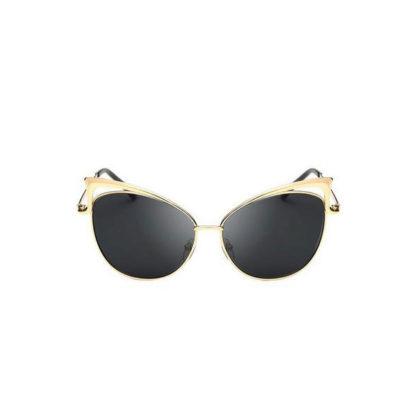 Ochelari de soare aurii lentile negre Cat Eye