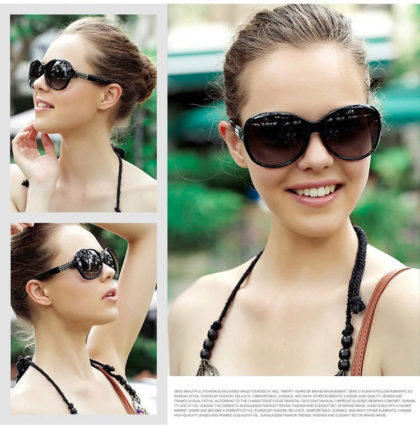 Ochelari de soare cu rama neagra Sunglasses fata
