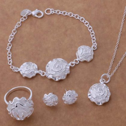 Set argint colier bratara inel cercei trandafir Sara