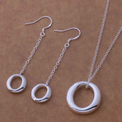 Set argint colier cu pandantiv oval si cercei