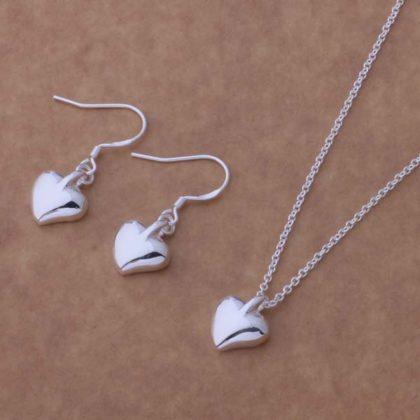 Set argint colier si cercei inimioare mici Sara