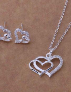 Set argint colier si cercei inimioare Sara