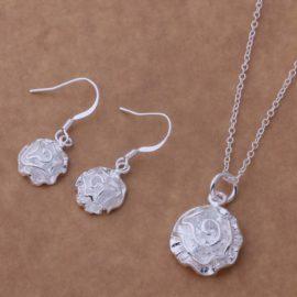 Set argint colier si cercei trandafir Sara