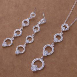 Set argint elegant imitatie diamante