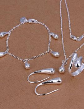 Set bijuterii argint colier, bratara, cercei si inel
